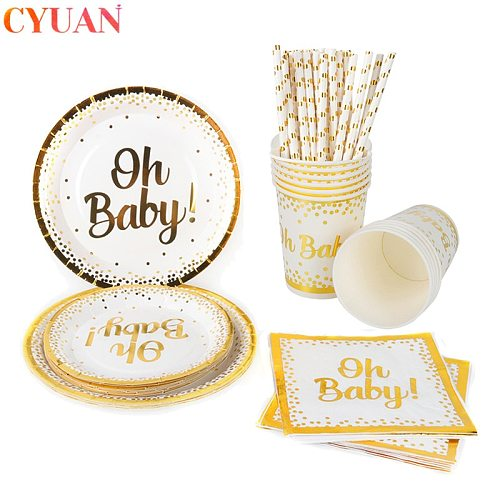 Oh Baby Gold Disposable Tableware Paper Plates Cups Napkins Kids Birthday Party Cutlery Gender Reveal Supplies Baby Shower Decor