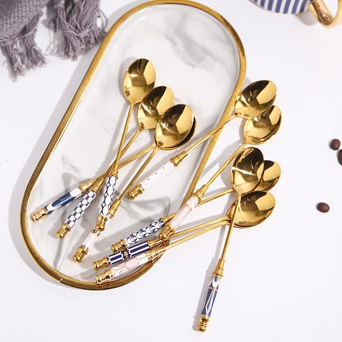 4PCSStainless Steel Gold Plated Coffee Spoon Ice Cream Dessert tableware Ceramic Handle Soup Spoon Tableware Kitchen Accessories