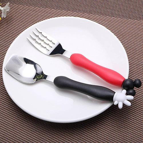 Cartoon Mickey Children Spoon Fork Set Baby Feeding Spoon Stainless Steel Kids Eating Utensils Toddler Baby Flatware Accessories