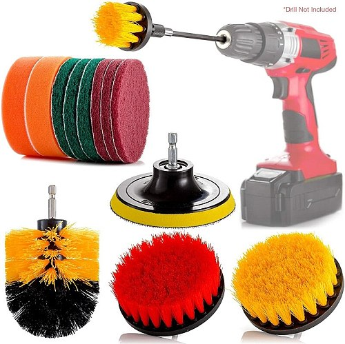 14 Pcs Drill Cleaning Brush Attachment Set, Spin Power Scrubber Brushes and Pads for Electric Cordless Drill and Impact Driver