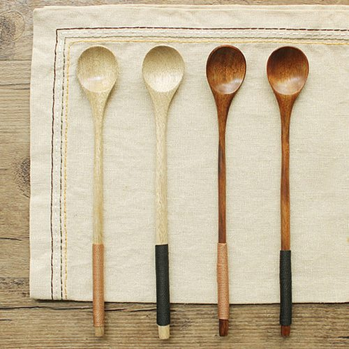 Long Handle Wood Spoon for Honey Rice Soup Dessert Coffee Tea Mixing Kitchen Utensil Teaspoon Catering Bamboo Wooden Spoon New