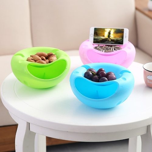 Bowl Double Layer Dry Fruit Containers Snacks Seeds Storage Box Garbage Holder Plate Dish Organizer With Phone holder WF