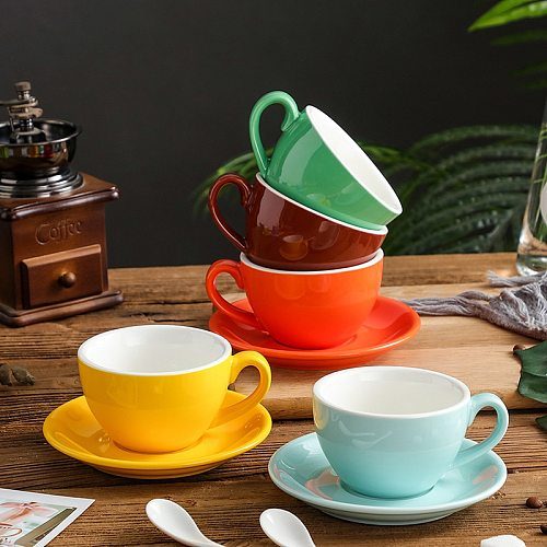Coffee Cup and Saucer Glossy  Cappuccino  Latte Porcelain Drinkware Coffeeware Sets 220ml Ceramic Tableware Espresso Gift