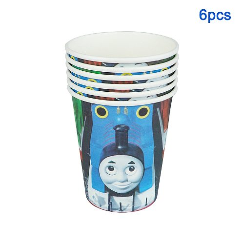 57Pc/Lot Cartoon Thomas Friends Disposable Tableware Design Kid Birthday Party Paper Plate+Cup+Napkin+ Flag+Tablecloth Supplies
