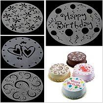 4Pc/lot Plastic Cake Stencils Flower Spray Stencils Birthday Cake Mold Decorating Bakery Tools DIY Mould Fondant Template