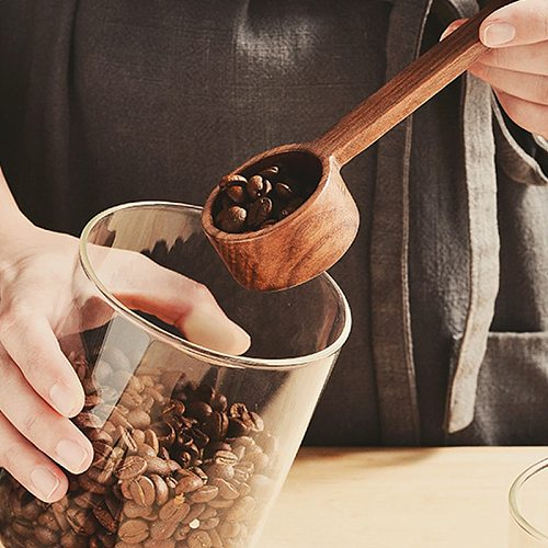 Wooden Coffee Scoop Measuring Spoon Black Walnut Wood Kitchen Scoop Measuring Spoon for Sugar Spice Powder Coffee Accessories