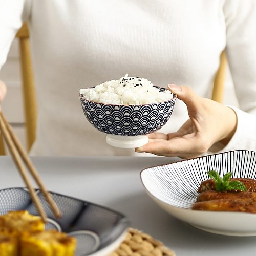 Japanese and Wind 4.5-inch Rice Bowl Ceramic Unglazed Anti-scalding Bowl European Simple Household Soup Bowl  High-legged