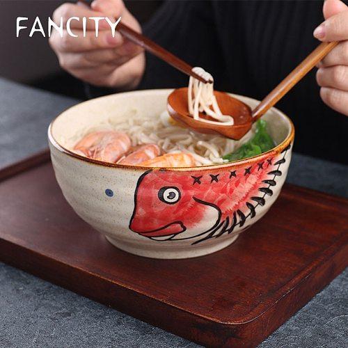 FANCITY Japanese underglaze hand-painted 7-inch ceramic household ramen bowl soup bowl commercial restaurant noodle bowl large i