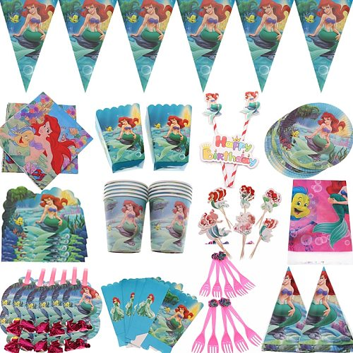 Mermaids Ariel Disposable Tableware  Napkins Banner Straws Cup Plates Girls Baby Shower Birthday Party Decoration Supplies