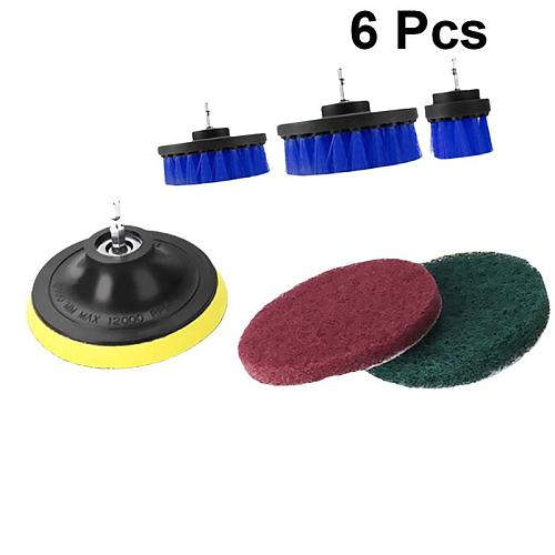 6pcs Electric Drill Accessories Cleaning Brush Scrub Heads Polishing Brush Kit Cleaning Pad Set for Home Outdoor (Blue)