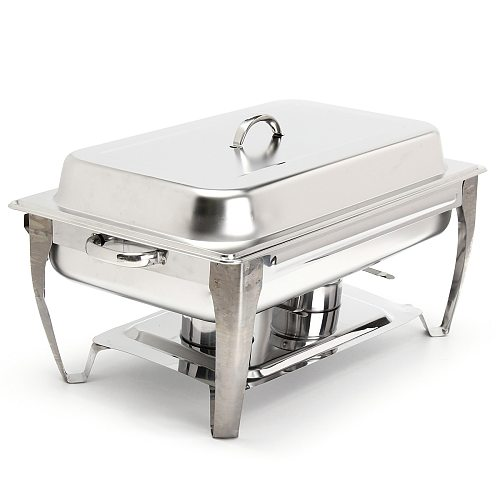 9L Foldable Stainless Steel Square Buffet Stove Dish Set Container Food Warmer Rectangular Chafing Dish Full Buffet Catering