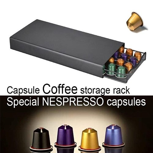 Stainless Steel 40 Cups Nespresso Coffee Capsules Pods Holder Storage Stand Rack Drawers Coffee Capsules Shelves Organization