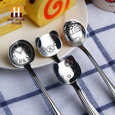 Cat Doraemon Bear Clock Dail Time 304 Stainless Steel Coffee Stirring Tea Dessert Scoop Cute Cartoon Children Kids Dinnner Spoon