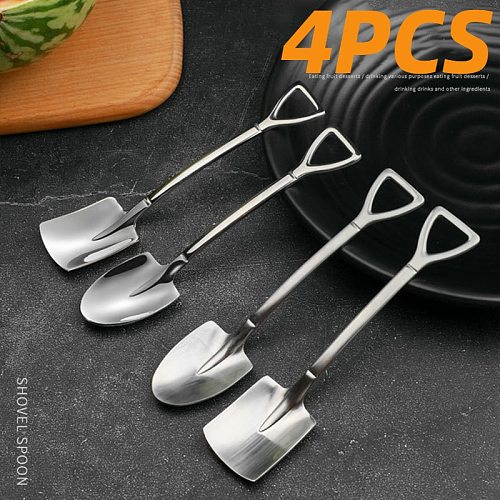 4PCS 304 stainless steel coffee spoon Retro shovel spoon  for ice cream Creative tea-spoon Tableware Bar Tool Cutlery set