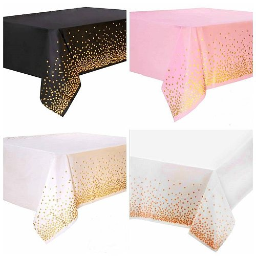 137*274cm Rose Gold Birthday Party Decoration Kids Tablecloth Disposable Paper Plates cup Baby Shower Party Decor Supplies