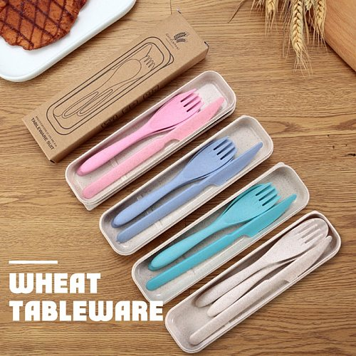 3pcs/set Travel Cutlery Portable Cutlery Box Japan Style Wheat Straw Knife Fork Spoon Student Dinnerware Sets Kitchen Tableware
