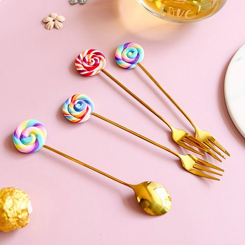 Cute Lollipop Children Spoon 304 Stainless Steel Coffee Stirring Spoon Dinner Fruit Fork Teaspoon Dessert Tea Scoop Tableware