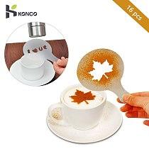 KONCO 16Pcs Coffee Milk Cake Stencil emplate Coffee barista Tools latte Art Maker Cappuccino Coffee accessories