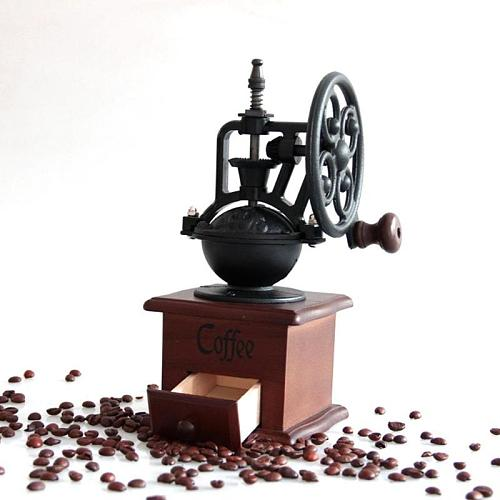 Manual Coffee Grinder Kitchen Retro Style Wooden Coffee Bean Mill Grinding Ferris Wheel Design Coffee Vintage Maker Tool