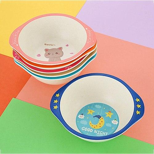 BPA-free Safe Bamboo Fiber Tableware Children's Baby Dishes Plate Bowl Milk Water Cup Cartoon Kids Dinner Feeding Set