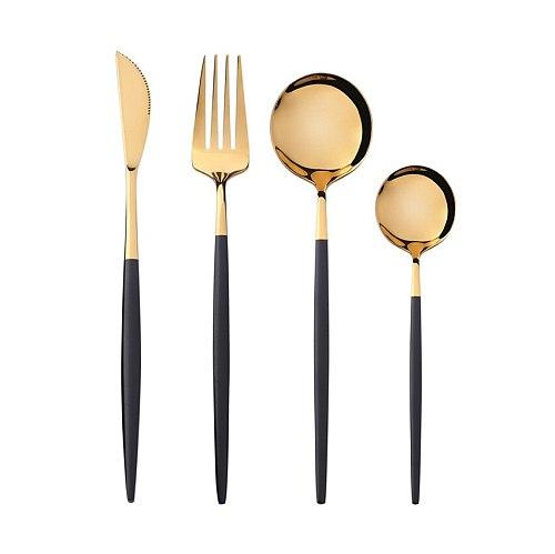 Steel Golden Tableware Luxury Dinnerware Set Kitchen Cutlery Polishing Fork Spoon Knives Vajilla Completa De Platos Cubiertos