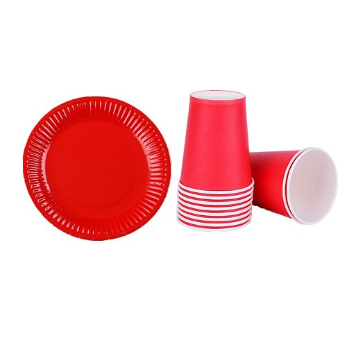 Christmas Red paper plates cups birthday party decorations kids gift baby shower Disposable tableware wedding red Decor