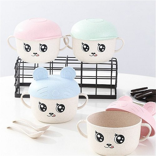 2Pcs/Set Baby Feeding Food Tableware Wheat Cartoon Kids Dishes Children Eating Dinnerware Set Anti-hot Plate Training Bowl+spoon