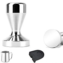 Aluminum Alloy Coffee Tamper 51mm Silicone Mat Stainless Steel Pull Flower Cup