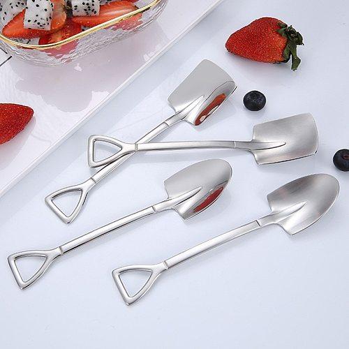 Mini Creative Retro Shovel Coffee Spoon Stainless Dessert Spoon Watermelon Ice Cream Spoon Tip Shovel Flat Shovel Gou Spoon