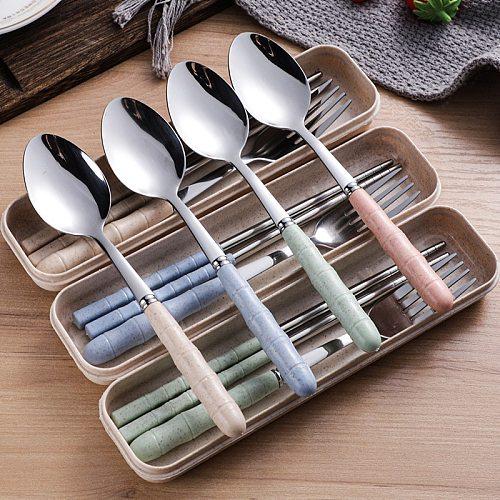 2/3pcs Wheat Straw Stainless Steel Portable Tableware Spoon Fork Chopsticks Set with Storage Box Dessert Fork Kitchen Supplies