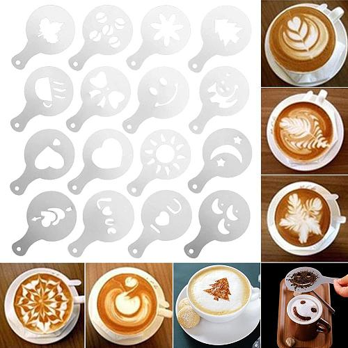 16Pcs Coffee Stencils Set Drawing Tools Maker Fancy Coffee Printer Model Plastic Template Mold for Kitchen Coffeeware