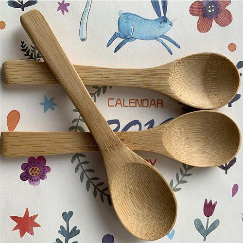 5Pcs/Lot Bamboo Jam Spoon Baby Honey Spoon Coffee Spoon Delicate Kitchen Using Condiment Small scoop 12.8*3cm Teaspoon