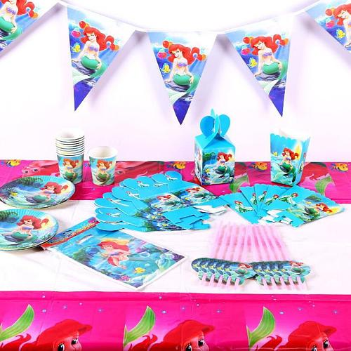 Mermaid Theme Cartoon Party Set Tableware Plate Napkins Banner Birthday Candy Box child Shower Party Decoration