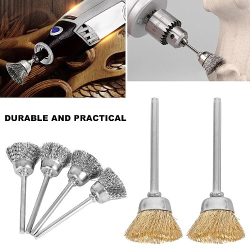 60pcs Wire Brush Set Cleaning Steel Wire Brush Wheel Metal Rust Removal Buffing Rotary Tools Grinder Welding Polishing Drill Bit