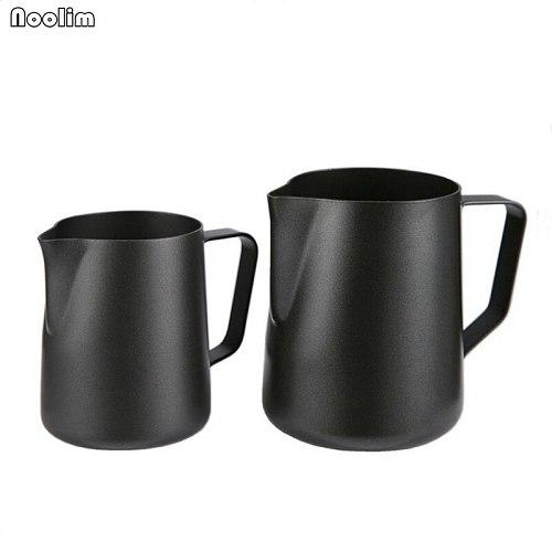 NOOLIM Black Non-stick Coating Coffee Mug Cup Jug Stainless Steel Espresso Milk Coffee Frothing Jug Tamper Cup Mug 350ml /600ml