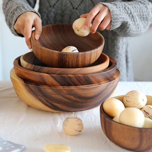 8/16cm Japanese Natural Wooden Bowl for Rice Cereal Fruit Salad Creative Acacia Serving Bowl for Kids Dinnerware