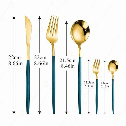Cutlery Set Stainless Steel Dinnerware Sets Kitchen Mirror Complete Tableware Knife Fork Spoon Steel Gold Cutlery Table Set