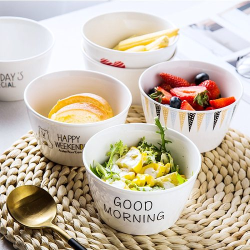 Breakfast Bowl Nordic Creative Cool Cute Couple's Household Tableware Ceramic Simple Net Red Ins Wind Rice Bowl Single Other