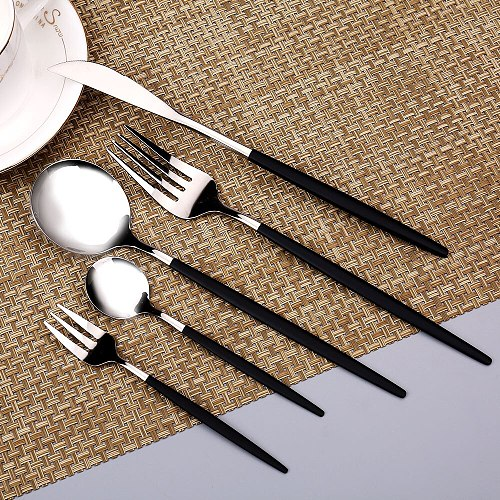 Stainless Steel Dinner Tableware Smooth Dinnerware Complete Kitchen Utensils Cutlery Lunch Of Dishes Knife Spoons Fruit Fork Set