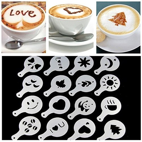16Pcs Fashion Cappuccino Coffee Barista Stencils Template Strew Flowers Pad Duster Spray