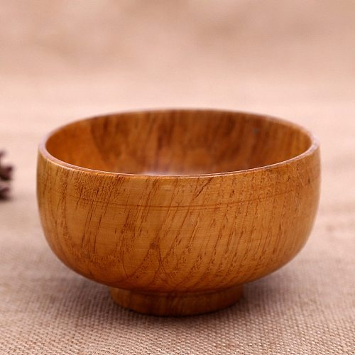 Natural Round Wooden Bowl Soup Noodle Rice Heat Insulated Bowl Harmless Handicraft Holder Kitchen Handmade Wood Bowl Universal