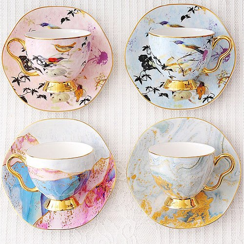 European Bone China Coffe Cup And Saucer British Afternoon Tea Cups Set Porcelain Gold Coffeeware Birthday  Wedding Gift