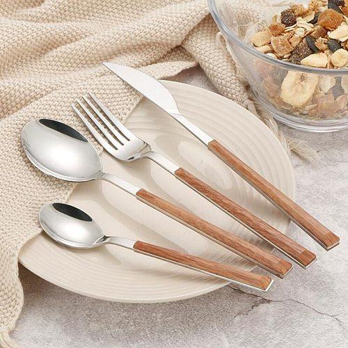 24Pcs 304 Stainless Steel Dinnerware Sets Glossy Silver Wooden Tableware Western Food Knife Fork Teaspoon Cutleries
