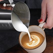 WORTHBUY Milk Frothing Pitcher With Scale Stainless Steel Milk Pitcher Jug Barista Craft Cream Frothing Cup Kitchen Coffeeware
