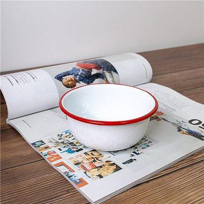 12 cm in width Japanese classic red side children use bowl thick enamel salad bowl popcorn dessert bowl-355 ml