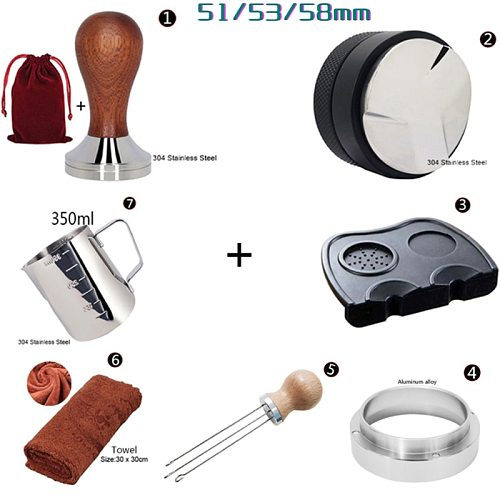 Coffee Tamper 51/53/58mm Espresso Machine Portafilter 304 Stainless Steel Powder Tool Silicone Mat  350ml Pitcher Dosing Ring
