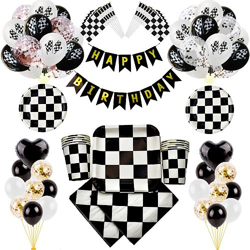 Black White Racing Car Deco Servies Chess Disposable tableware Set Checkered Flag Party Supplies ballons decoration birthday