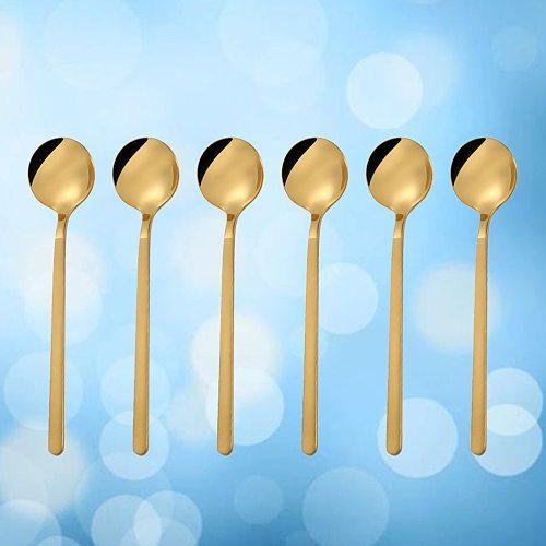 6 Pcs 13CM Stainless Steel Round Spoon Mini Long Handle Teaspoons Coffee Stirring Spoon for Coffee Sugar Dessert (Short, Golden)