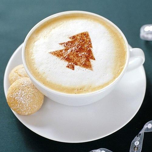 2021 New 16pcs-set Coffee Latte Mold Cappuccino Milk Froth Powdered Pattern Spray Flower Love Smile Sun Print Coffee Stencils