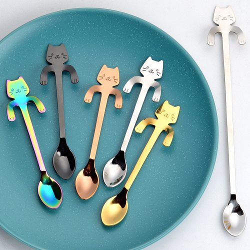 Coffee Spoon Mini 304 Stainless Steel Cartoon Cat Spoon Long Handle Flatware Coffee Drinking Tools Kitchen Gadget Teaspoons